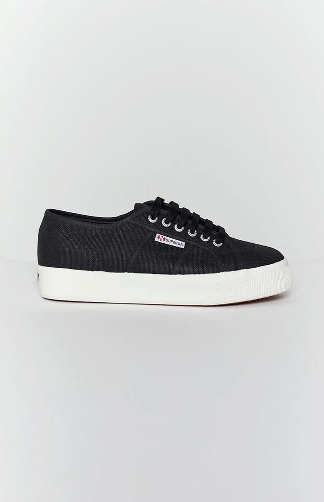 Superga 2730 COTU Canvas Sneaker Black and White 9
