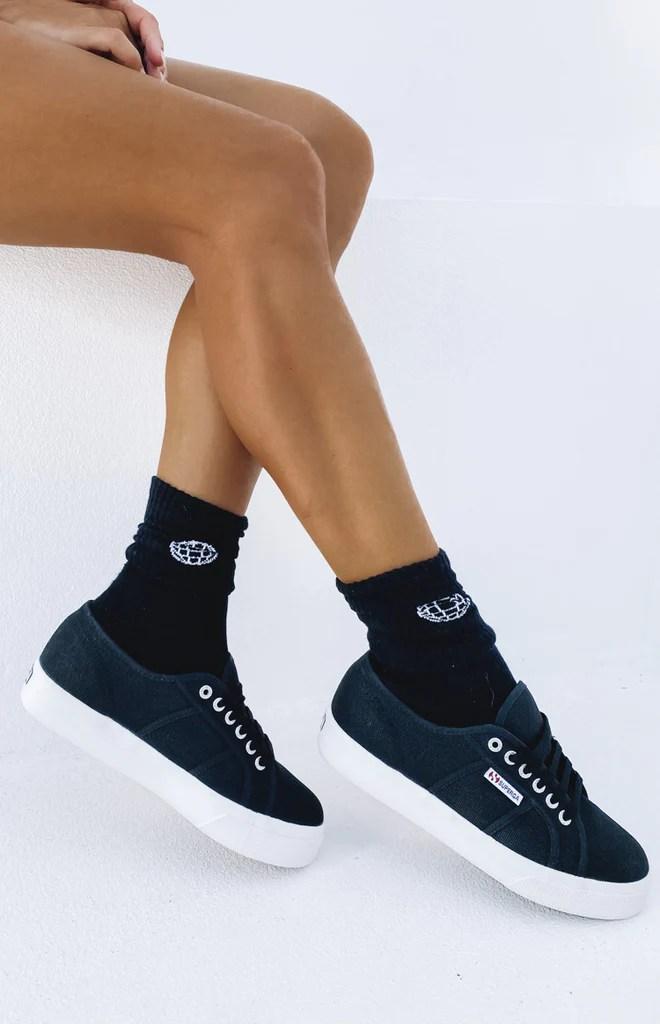 Superga 2730 COTU Canvas Sneaker Black and White 10
