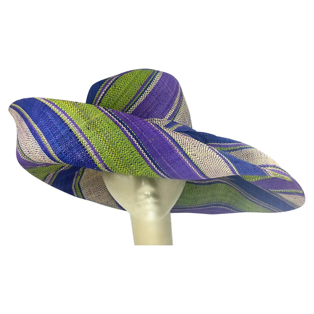 a9a702a1 Chike Hand Woven Multicolored Madagascar Raffia Hat