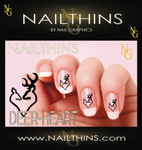 nail decal deer heart browning