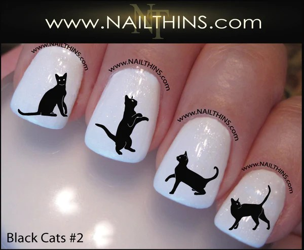 Black Cat Nail Decals set number 2 Nail Art Designs by