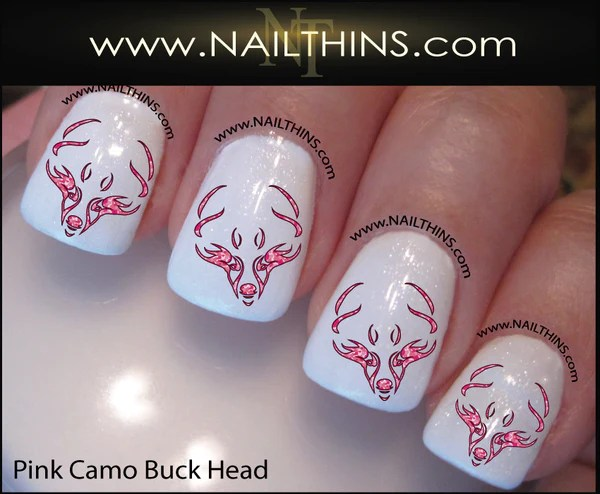 buck head nail decal pink camo