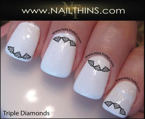 triple diamond nail decal