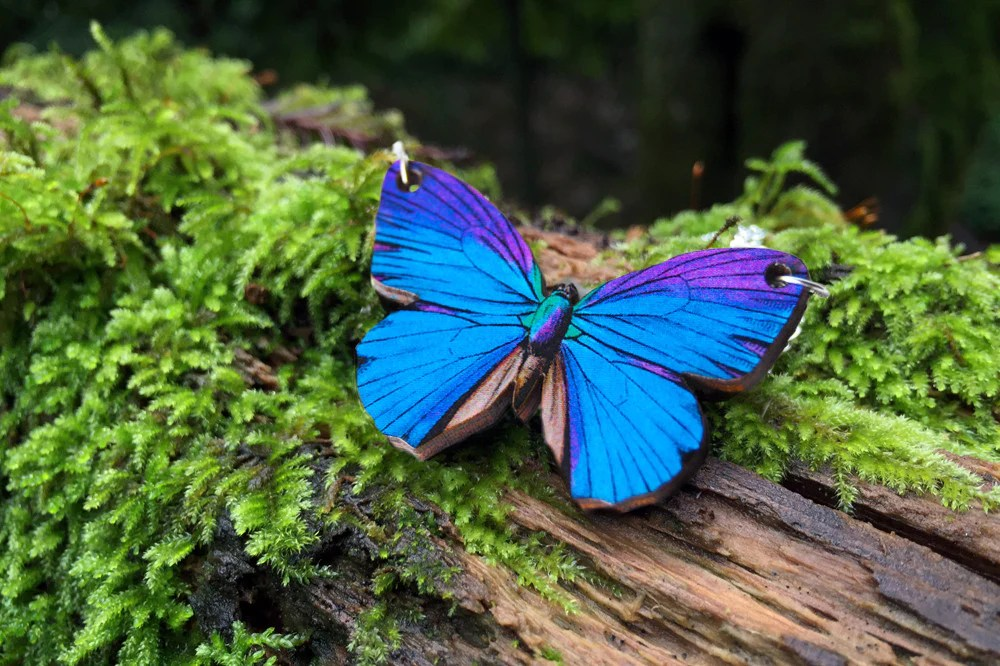 Blue Morpho Butterfly Necklace  Magical Butterfly Pendant