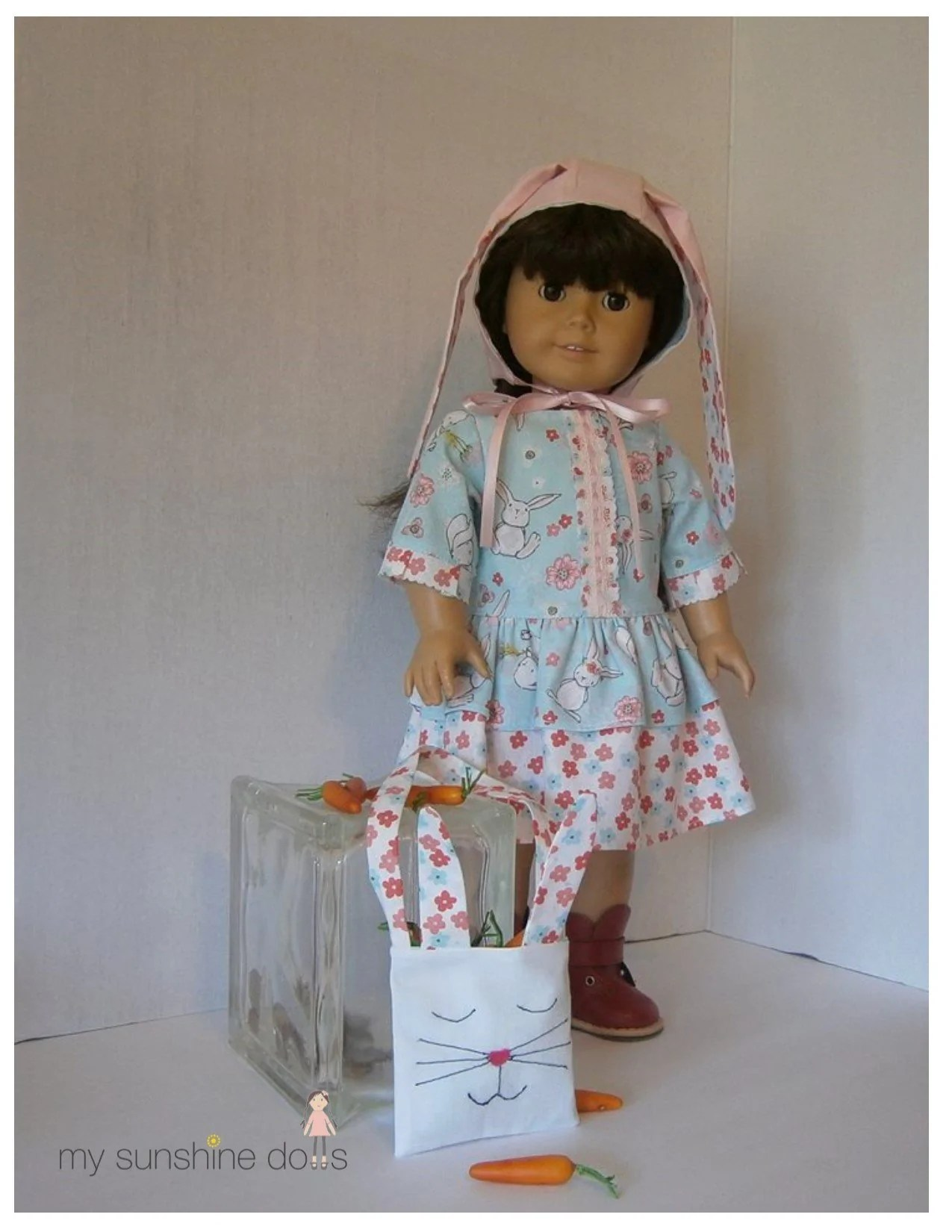"""Easter Day Dress Bunny Bonnet And Tote Bag 18"""" Doll"""
