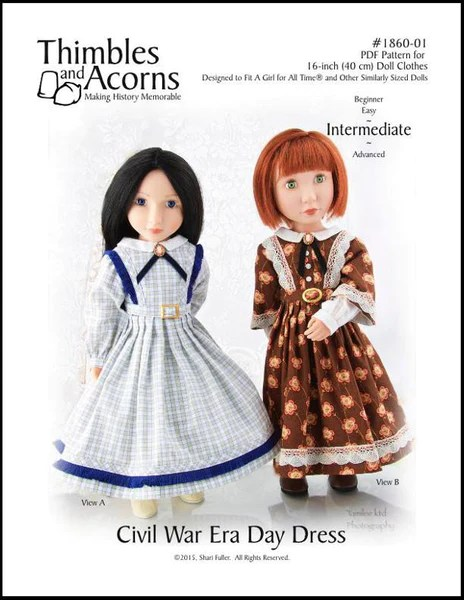 Thimbles And Acorns 1860 Civil War Era Day Dress Doll
