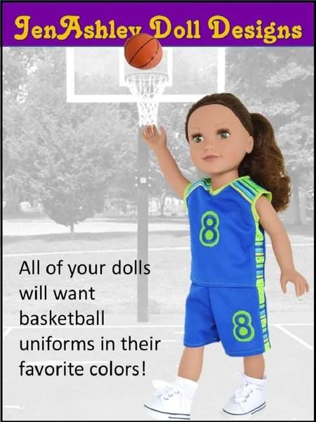 JenAshley Doll Designs Shootin Hoops Basketball Uniform