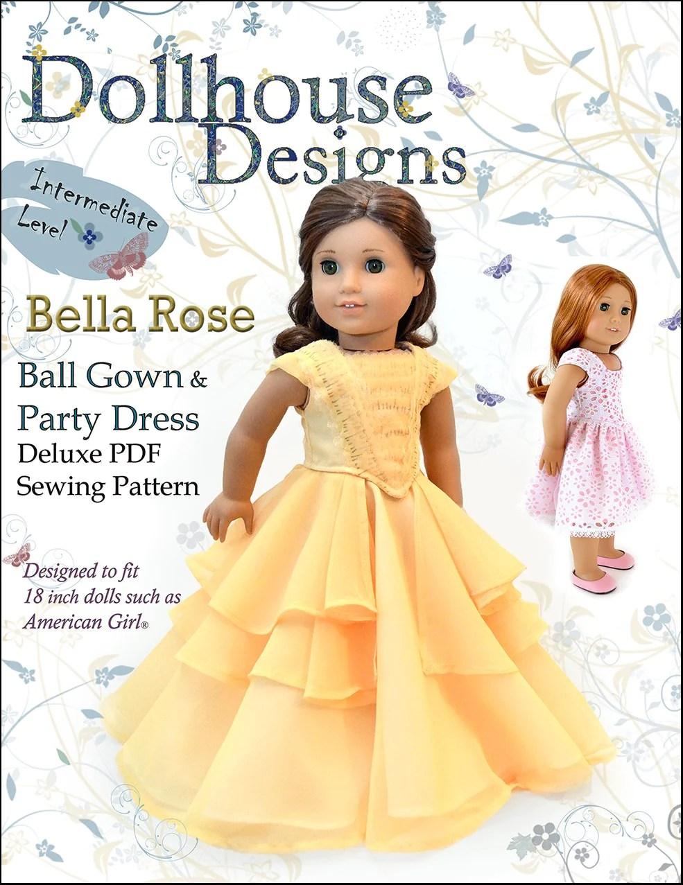 18 Inch Doll Dress Patterns : dress, patterns, Dollhouse, Designs, Bella, Dress, Clothes, Pattern, Dolls, Pixie, Faire
