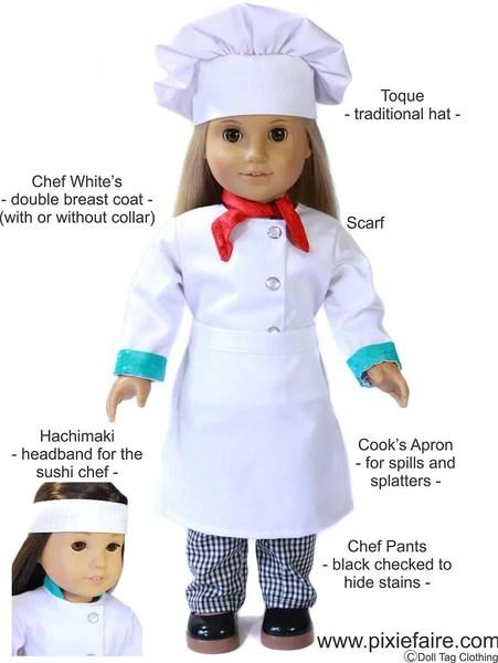 Chefs Uniform 18 Inch Doll Clothes PDF Pattern Download