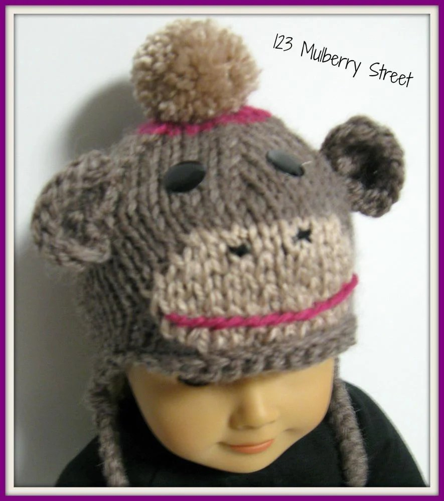 123 Mulberry Sock Monkey Hat 18 Inch Doll Knitting Pattern