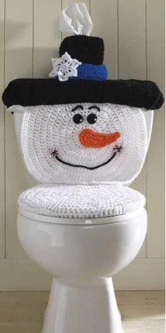 Maggies Crochet  Snowman Toilet Cover Crochet Pattern