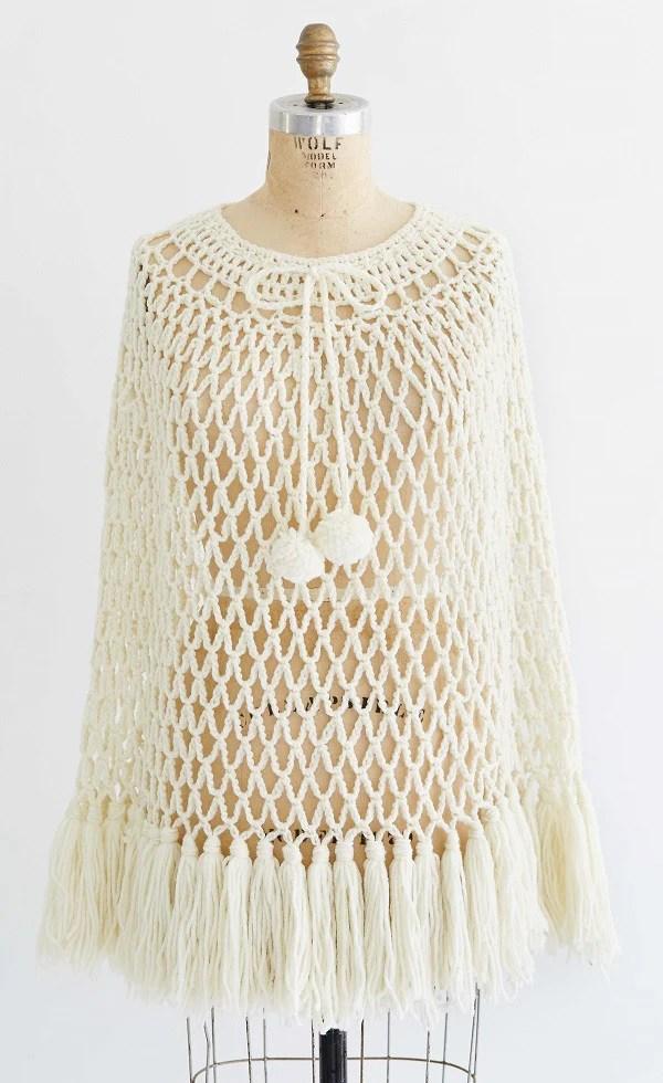 Hippie Boho Poncho  Cap Crochet Pattern  Maggies Crochet