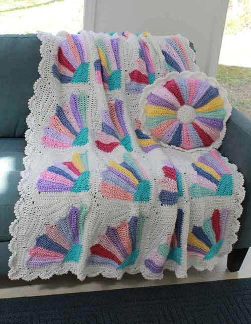 Scrap Fan Afghan and Pillow Crochet Pattern  Maggies Crochet
