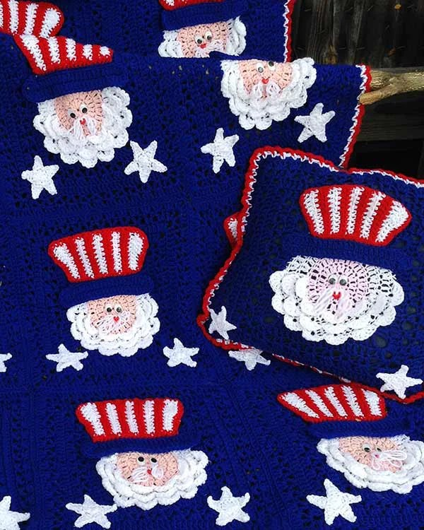4th of July Uncle Sam Afghan  Pillow Set Crochet Pattern