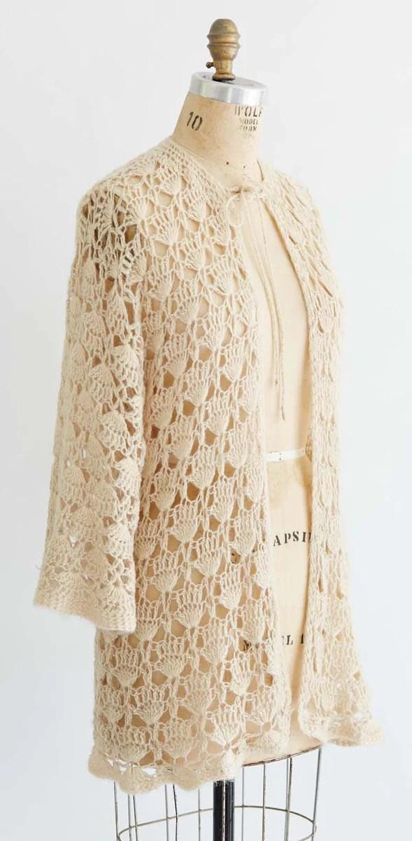 Vintage Crochet Lacy Shell Sweater Crochet Pattern Maggies Crochet