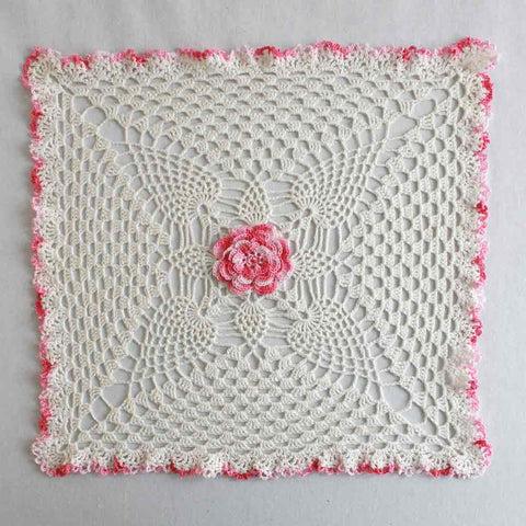 Pineapple  Rose Granny Square Doily Crochet Pattern