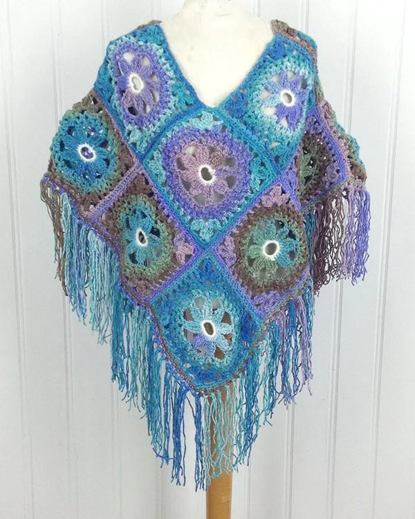 Lacy Floral Poncho Crochet Pattern  Maggies Crochet