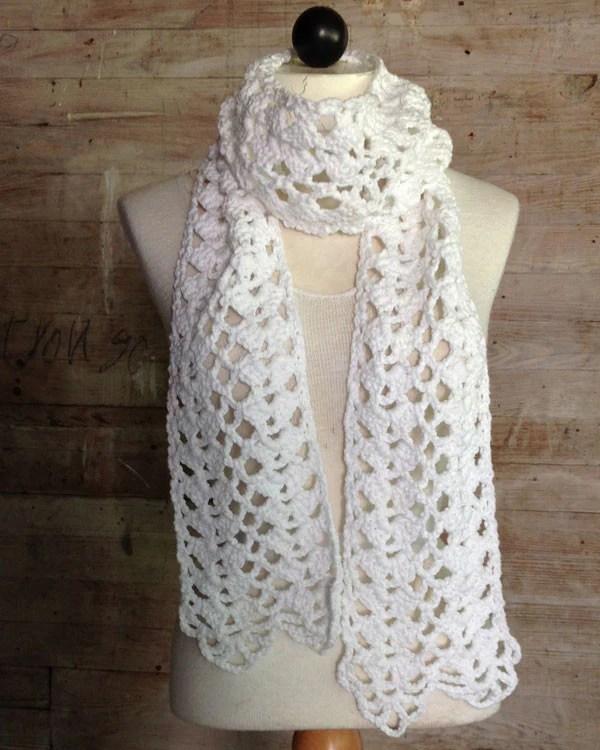 Lacy Shells Scarf Crochet Pattern  Maggies Crochet