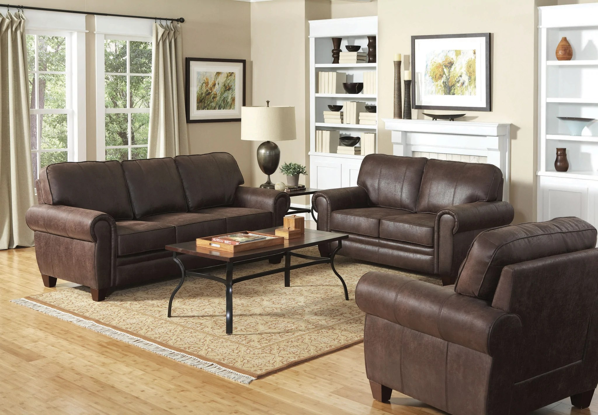microfiber living room furniture sets accent benches traditional brown leather like set best for