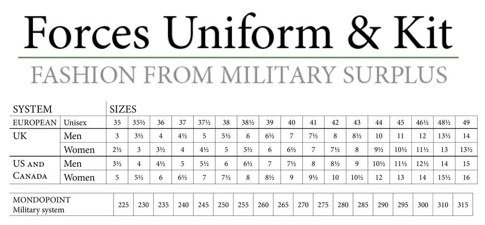 International shoe size conversion chart also forces uniform and kit rh forcesuniformandkit