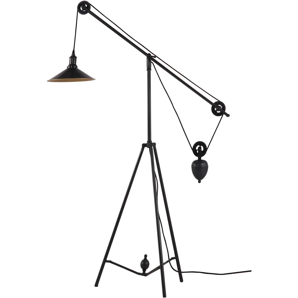 Pulley Floor Lamp Antique Black Gold  FROY