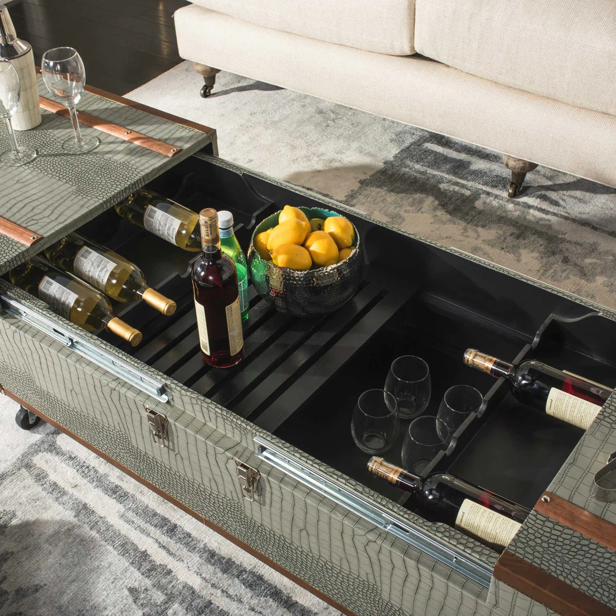 zoey coffee table storage trunk with wine rack gray