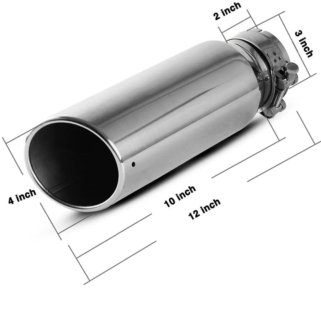 3 inch inlet exhaust tip 3 x 4 x 12 inch chrome polished stainless steel exhaust tailpipe tip bolt clamp on design