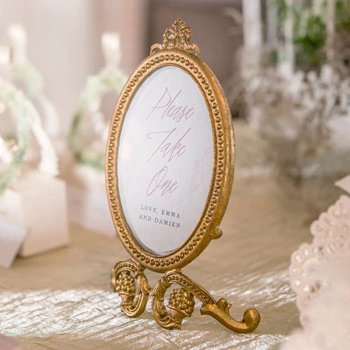 Gold Oval Baroque Frame Wedding Party Table Decor  Candy Cake Weddings
