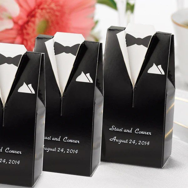 Personalized Gown or Tuxedo Wedding Favor Box  Candy Cake