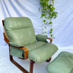 Tessa T8 Sage Leather Armchair Footstool Curated Spaces