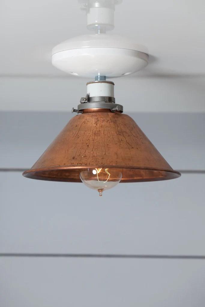 Copper Metal Shade Light  Semi Flush Mount Lamp