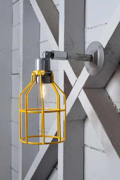 Wall Mounted Lamps With Plug Yellow Cage Light - Exterior Wall Mount Sconce