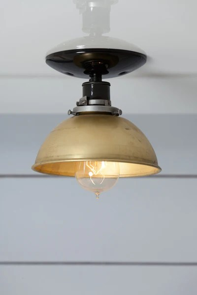 Brass Metal Shade Light Semi Flush Mount Ceiling Lamp