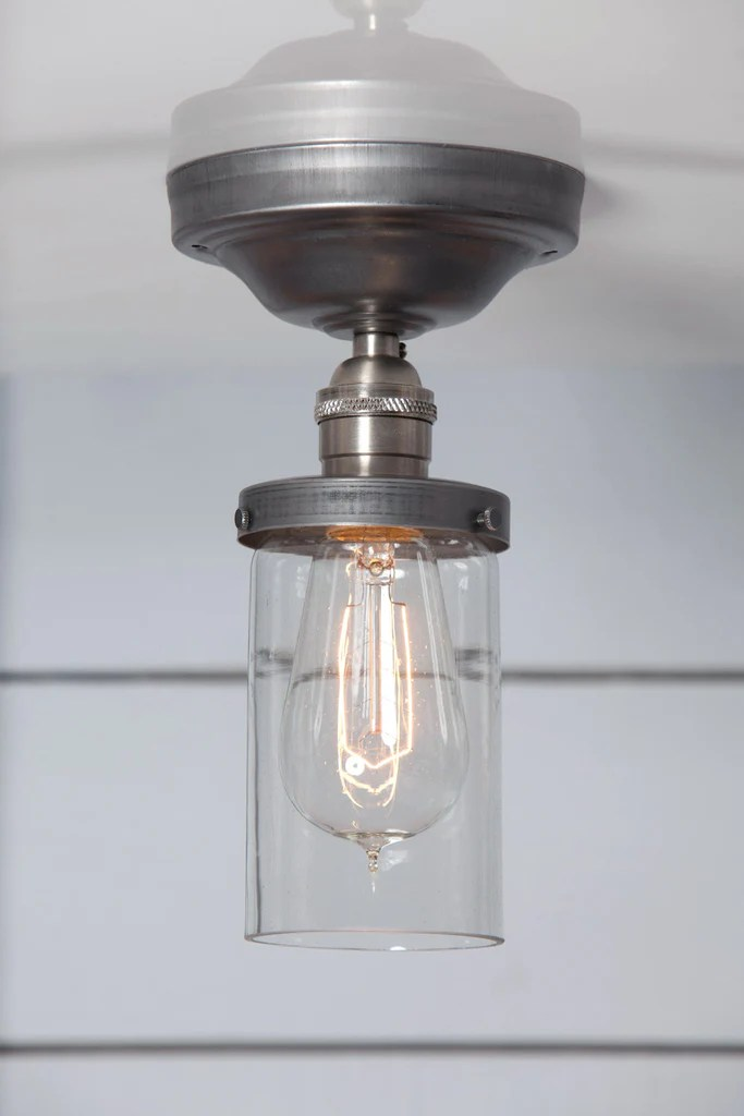 Cylinder Glass Shade Light  Semi Flush Mount  Industrial