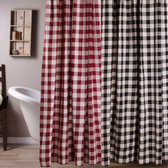 buffalo check shower curtains black or red
