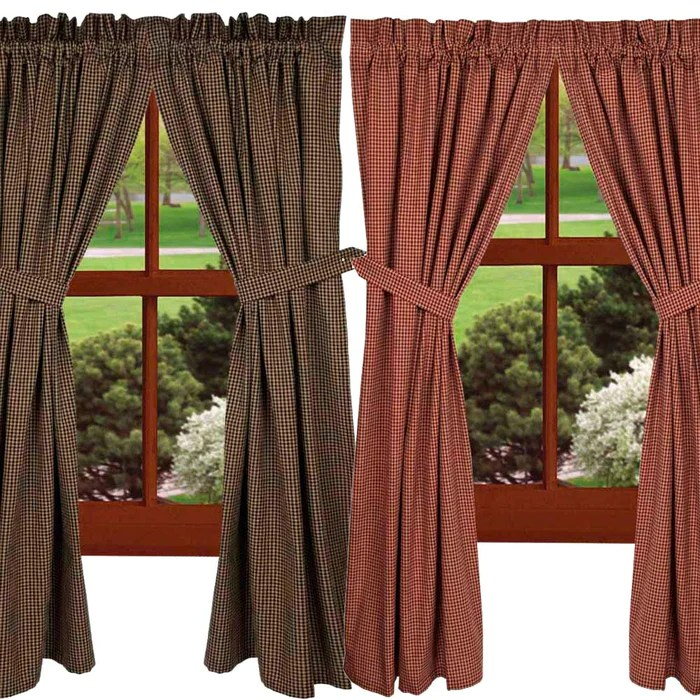 newbury gingham curtain panels red or black