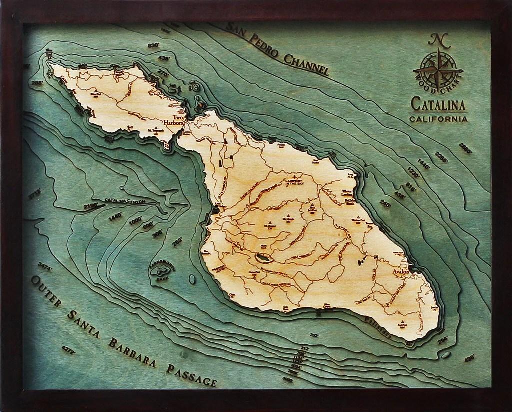 Catalina Island California  Nautical Wood Chart  Wood