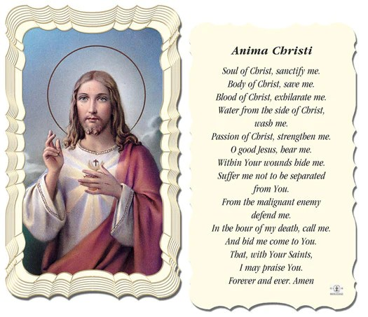 Anima Christi Holy Card Catholic Shopping Com