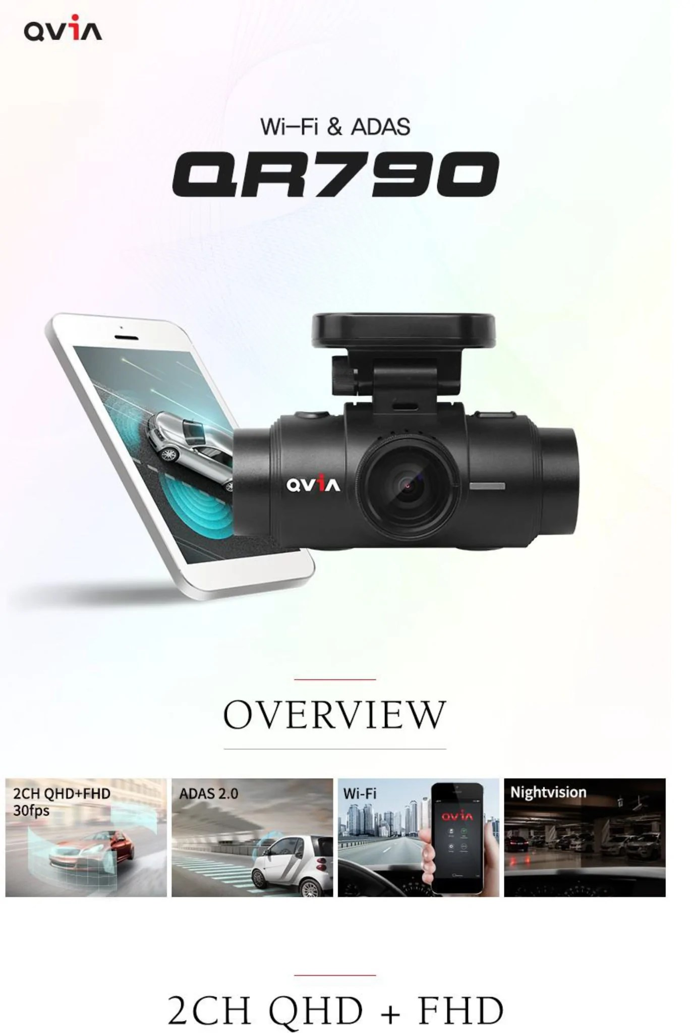 WiFi /& 64GB microSD Card ADAS QVIA QR790S Duo Quad HD 2560 x 1440p 30fps 2 Channel Car Dash Camera with GPS