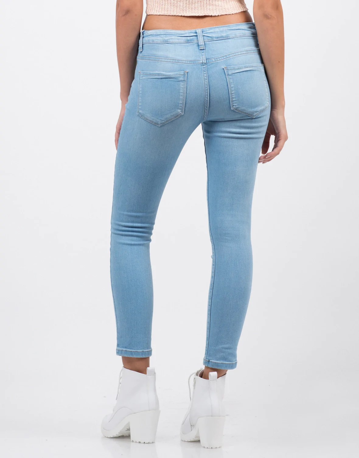 Classic Crop Skinny Jeans  Blue Jeans  Light Blue Denim