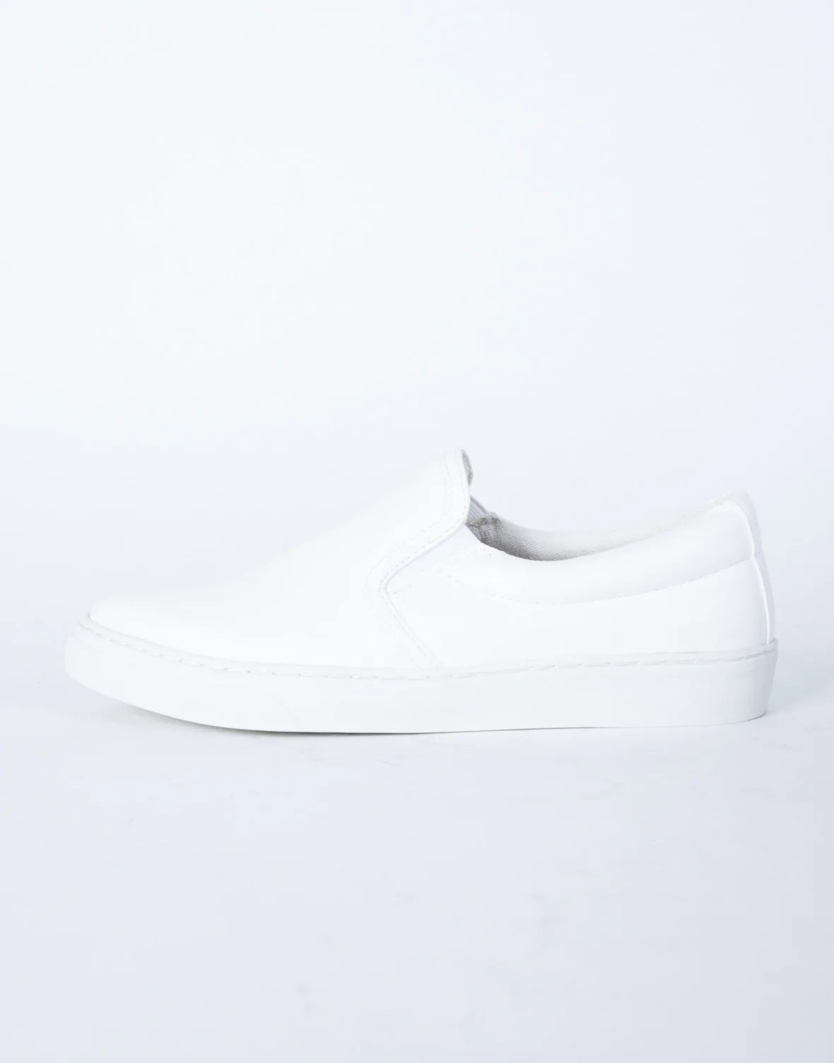 White Leather Slip On Sneakers