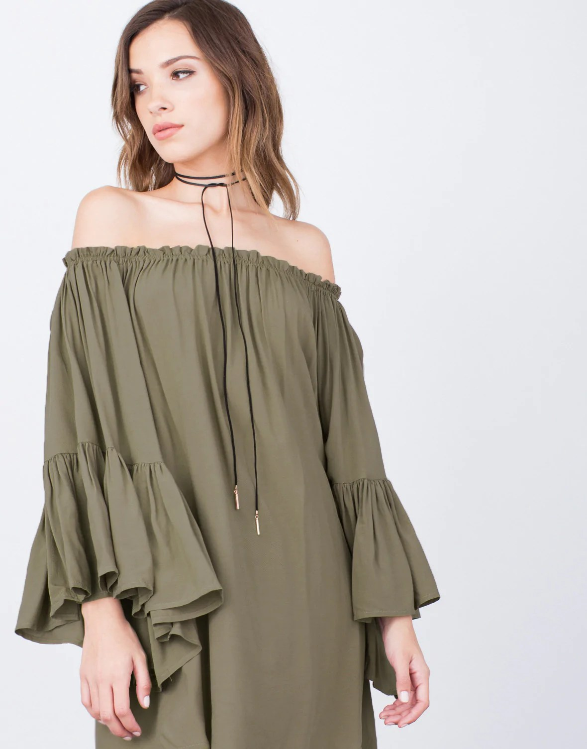 Frilly -shoulder Dress - Ruffled Shoulder