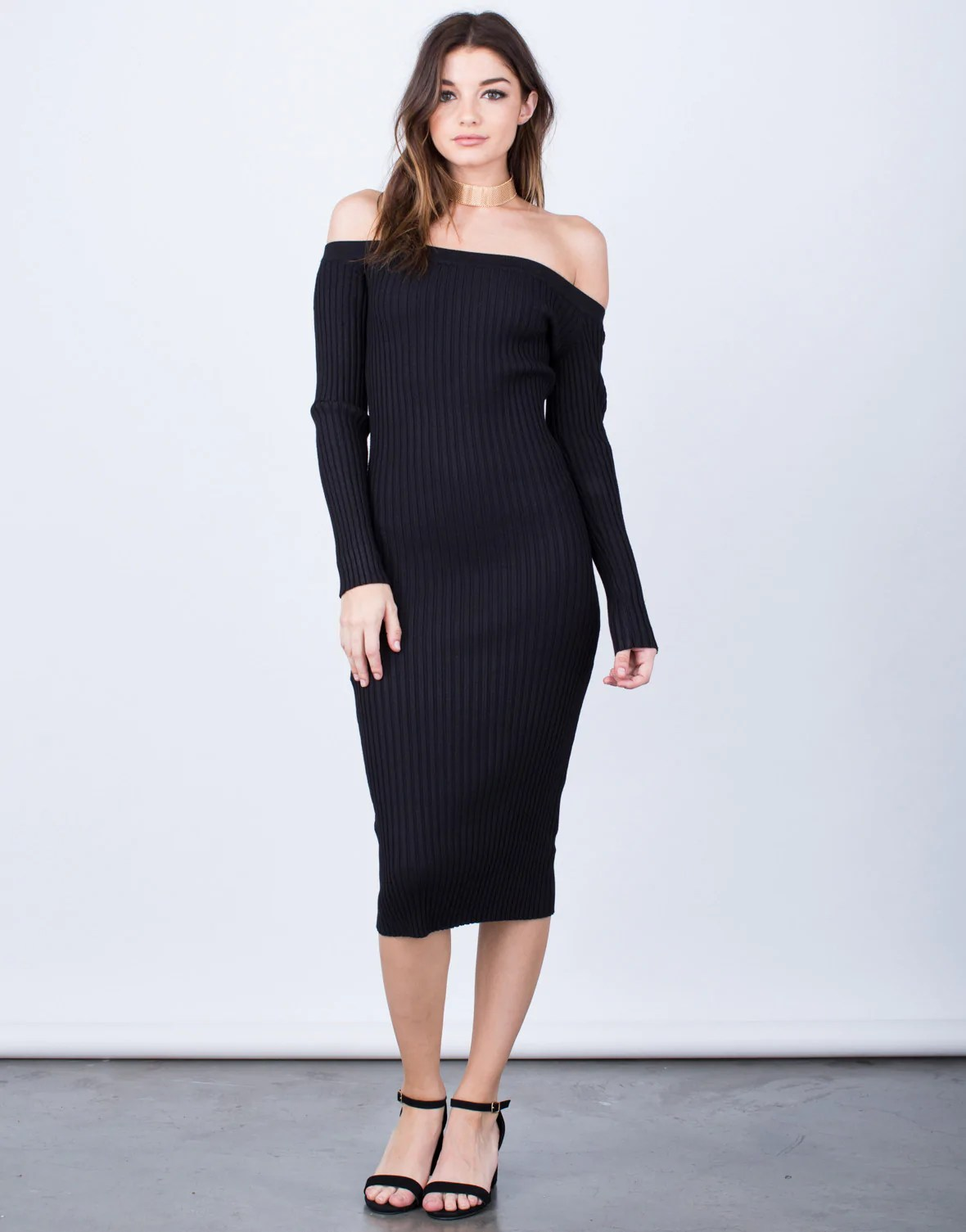 Shoulder Midi Dress - Ribbed Shoulder