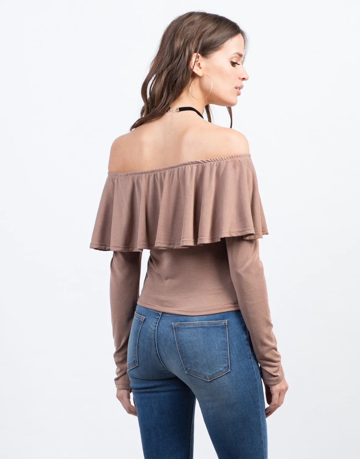 Off Shoulder Blouse with Ruffle Top