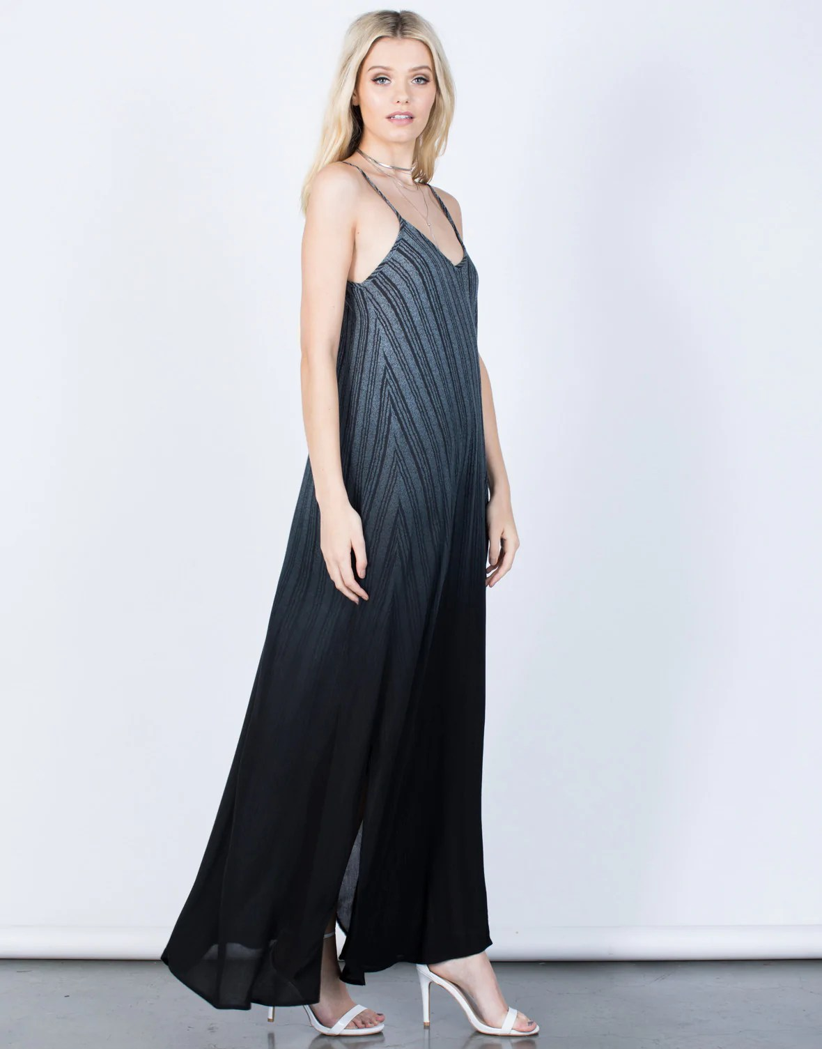 Ombre Maxi Dress - Black Tie Dye Dyed