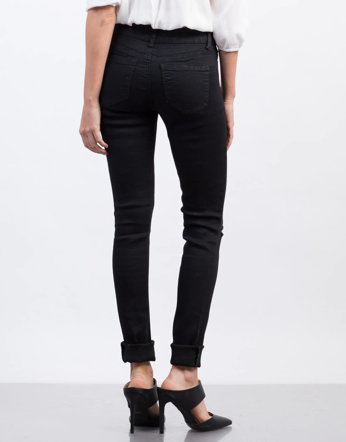 Ripped High Waisted Skinny Jeans - Black Destroyed Denim - White Distressed Skinnies – 2020AVE