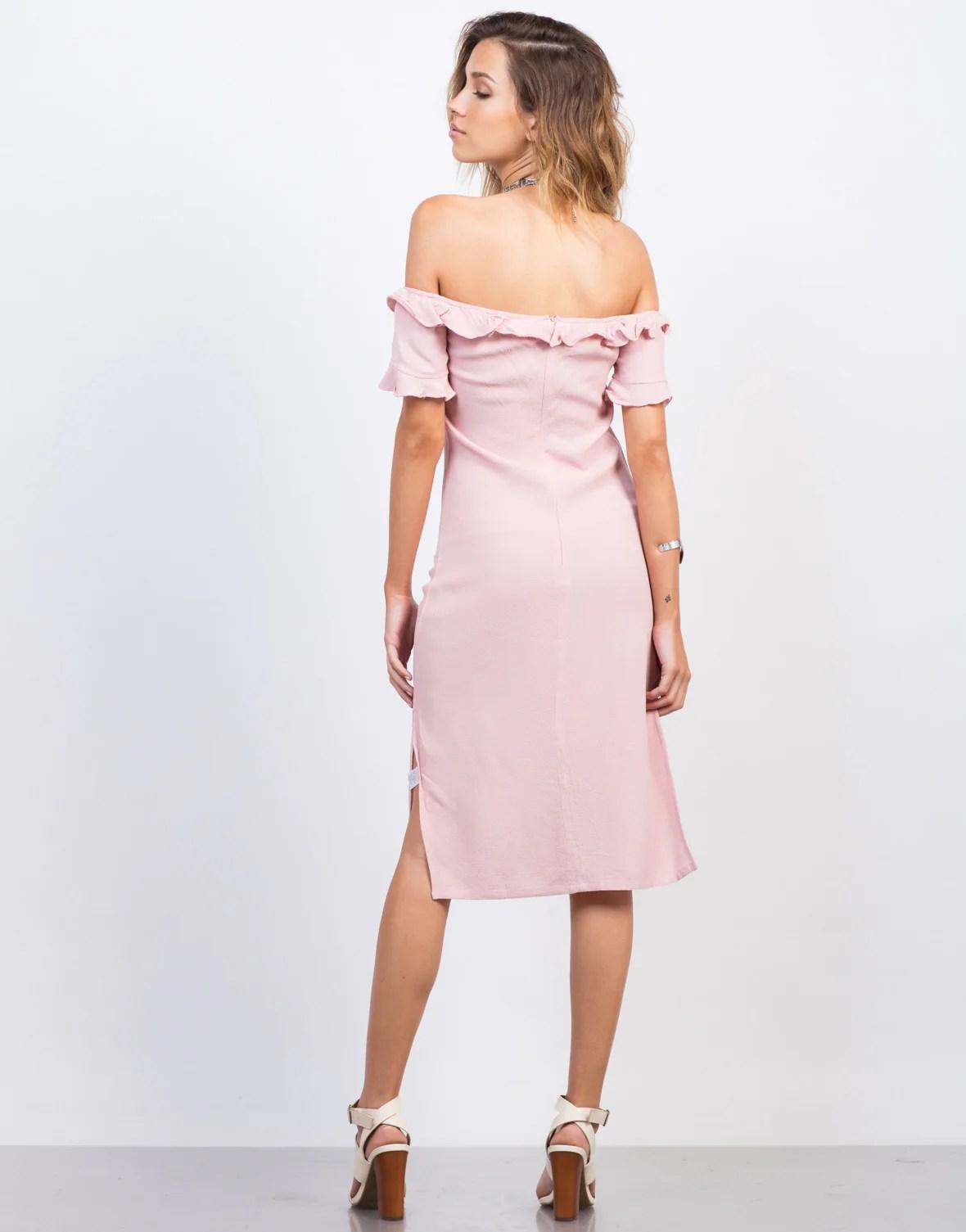 Pink Off Shoulder Ruffled Dress