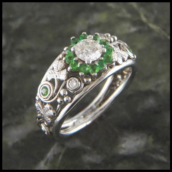 Irish Shamrock Engagement Ring With Diamond And Tsavorite