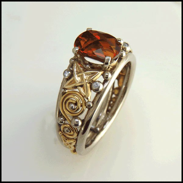 Orange Garnet Gold Celtic Ring RF210