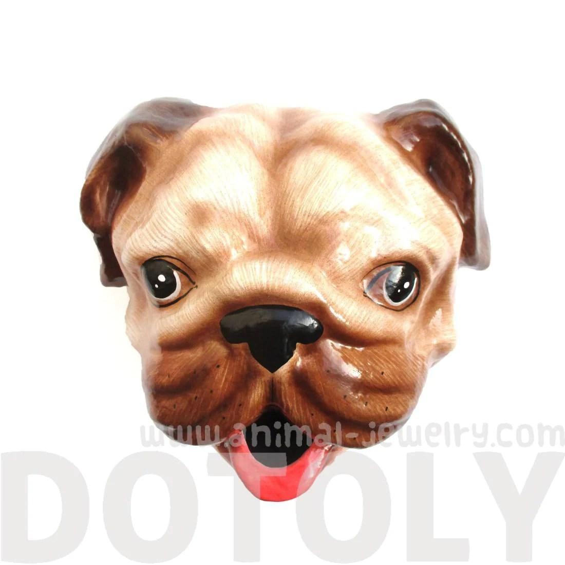 Pug Puppy Animal Head Faux Taxidermy Wall Mount Tissue